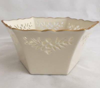 Vintage Lenox Shelburne Hexagon Pierced Ivory China Bowl Gold Trim Made in USALe