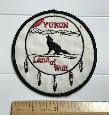 Yukon Land of Wolf Howling Wolf Canadian Territory Embroidered Round Patch