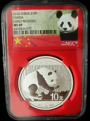 2016 China Panda 10 Yuan NGC MS69 Early Release 1 Ounce Silver Coin Read SALE!