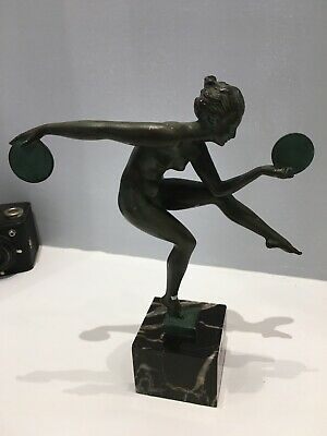 French Art Deco Sculpture - Nude Dancer with Cymbals by Fayral