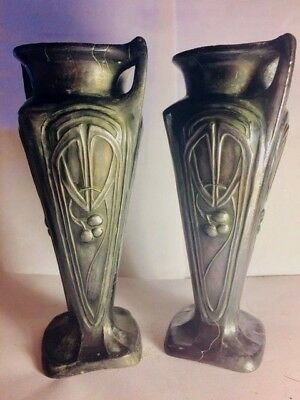 Rare and unusual fine pair of antique matching European Art Nouveau  Vases