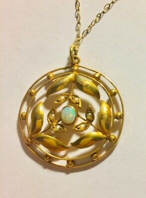 Antique 9ct Gold Art Nouveau Opal  And Seed Pearl Pendant on Fine Gold Chain