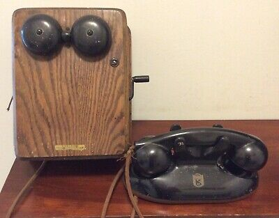 Antique Vintage Telephone & Ringer Box, Kellogg Switchboard Supply Co, Chicago
