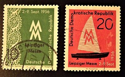 """East Germany 1956 """"Leipzig Autumn Fair"""" 2 stamps, 10pf and 20pf."""