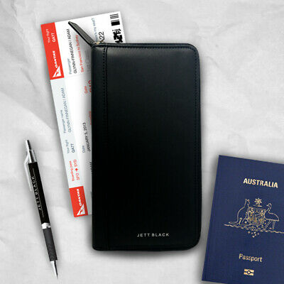 Black Travel Wallet Passport Holder Document Card Organiser Bag Purse