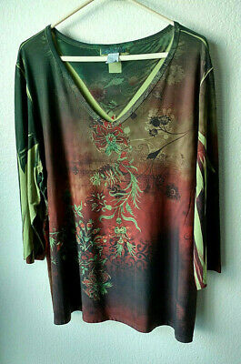 cc147825801 Dressbarn Size 2X Fields of Avocado Green   Copper Brown Sublimation Tunic  Top