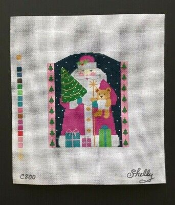 Shelly Tribbey Hand-painted Needlepoint Canvas Santa Holding Tree & Teddy Bear