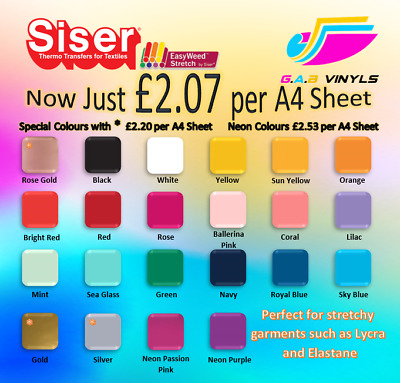 A4 sheets-Siser EasyWeed Stretch PREMIUM HTV Vinyl IRON ON/HEAT PRESS rose gold