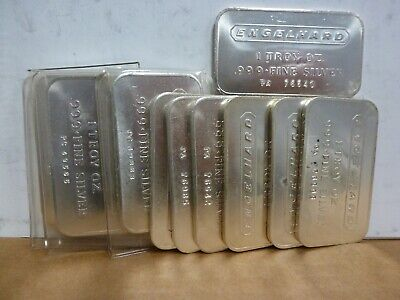 1 Troy oz Engelhard .999 Fine Silver Bar (Lot Of 11)