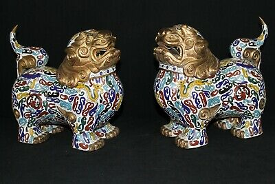 Pair Chinese Cloisonne Foo-lion