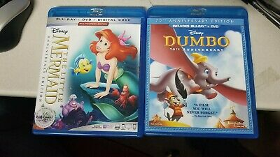 Dumbo and  THE LITTLE MERMAID (ANNIVERSARY EDITION, BLURAY/DVD) No Digital Codes