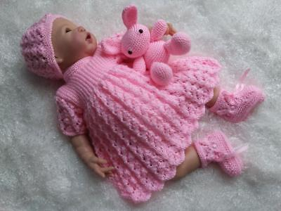 Sparkling Hand Knitted Dress Set & Bunny Toy for a Baby Girl or Reborn Doll