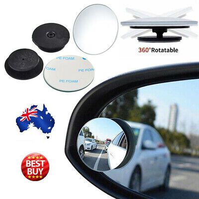 2x Blind Spot Car Mirror Adjustable Rear Side View Convex Glass 360 Wide Angle