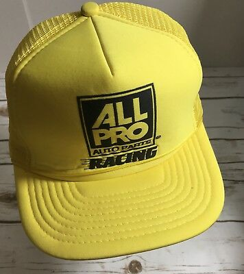 8701393eab0 vintage mesh foam snapback trucker hat cap all pro auto parts racing Yellow