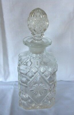 Vintage Cut Glass Whisky Brandy Rum Square Decanter