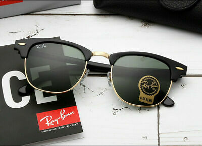 6a88797f0 Ray-Ban Clubmaster Sunglasses RB3016 W0365 G-15 Lens 51mm Black / Gold Frame