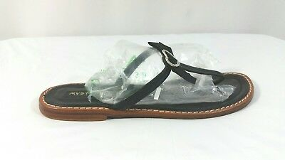 e53b5cc33d243 Mystique Black Leather Heart Rhinestone Thong Sandals Flip Flops Shoes Size  7