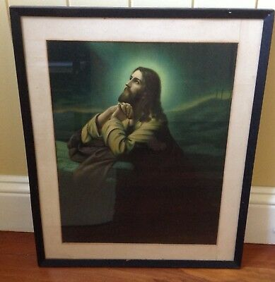 Vintage Catholic Print Picture of 'Agony in the Garden' Framed by TC Beirne Bris