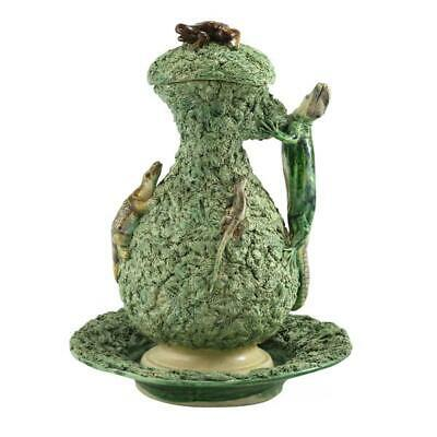 19th Century Palissy Ware Lidded Jug & Bowl with Frogs and Lizards