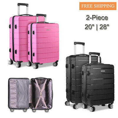 """Wanderlite 2PC Hard-shell Luggage PP Suitcase Storage Retractable Trolley 20""""28"""""""