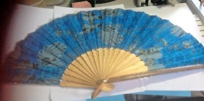 Collectable Hand Fan* Fabric And Bamboo  *