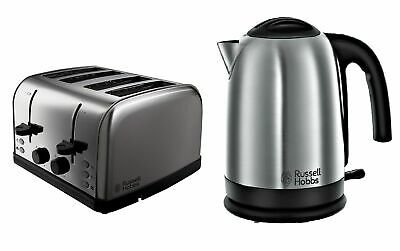 Kettle and 4 Slice Toaster Set Silver Cheap Sale Buy Kitchen Russell Hobbs