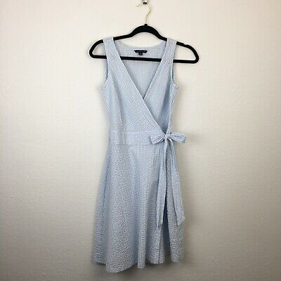 681f4f8e276 TOMMY HILFIGER WRAP Dress Seersucker Cotton Blue White Summer XS ...