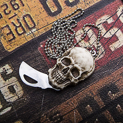 Outdoor Survival Stainless Steel Skull Pendant Folding Pocket Coin Knife Gifts