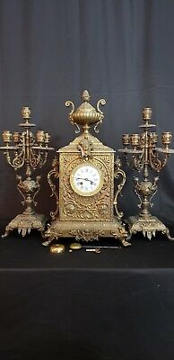 Amazing XL Antique 19thc French Solid  Bronze Mantle Clock Garniture Set