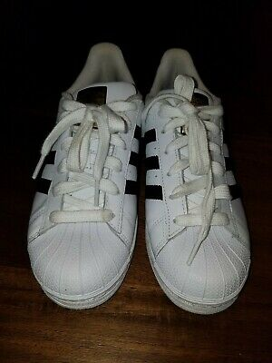 huge discount e95fd d99a9 Adidas Originals Superstar Sneaker Big Kids. White Black Gold. Size Youth 6