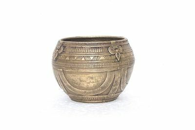 Old Vintage Rare Antique Indian Brass Small Carved Bowls Collectible PA-75