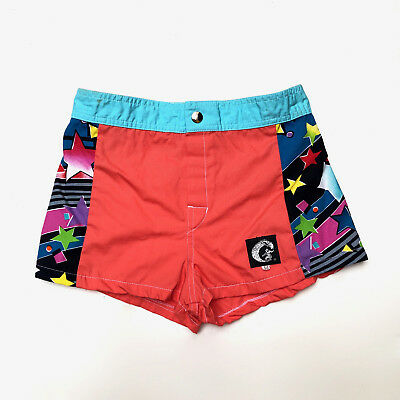 Vintage 1980s 'Catchit' panelled board shorts with star print sides