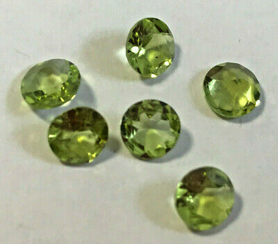 Peridot 5mm Round;  Natural, Untreated, Genuin, Best Quality [lot of 6 stones]