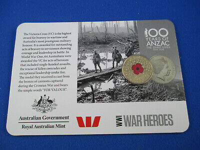 2015 $1 Dollar Red Poppy uncirculated coin - Carded - WWI WAR HEROES SCARCE!