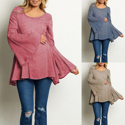 AU Women Maternity Pregnant Batwing Sleeve Loose Plus Size Tops Blouse Shirt Tee