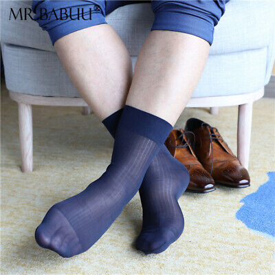 SALE 4Pairs Pack Mens Summer Thin Short striped sheer dress smooth silky socks
