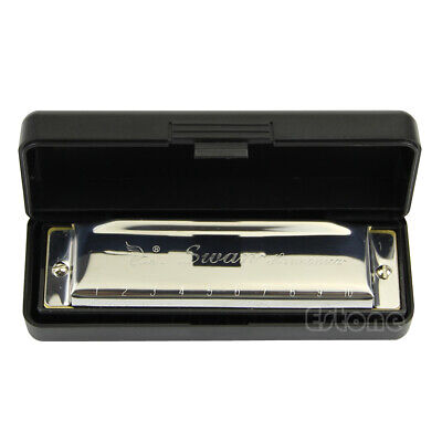 Special Swan Harmonica 10 Holes Key Of C Silver w/ Case New For Beginner