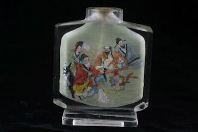 Vintage Peking Glass Inside Painted Eight Immortals Scene Large Snuff Bottle