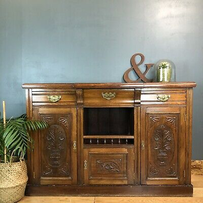 Antique Buffet Server Sideboard Solid Mahogany Cupboard Drawers Storage Rustic