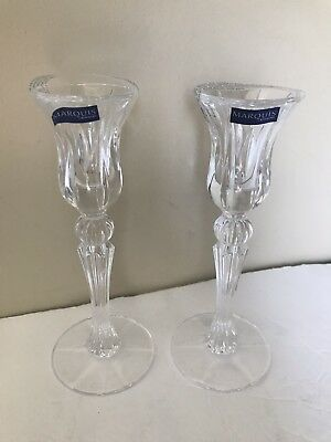 """Marquis By Waterford Lead Crystal Candlestick Holder Pair 8"""" Germany"""