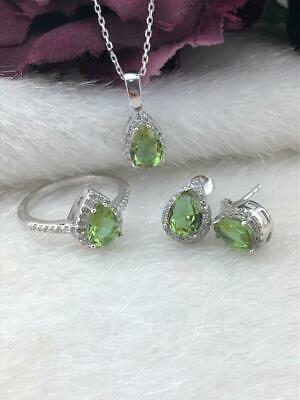 925 Sterling Silver  AAA Quality Jewelry Drop Alexandrite ( Color Changing ) Set