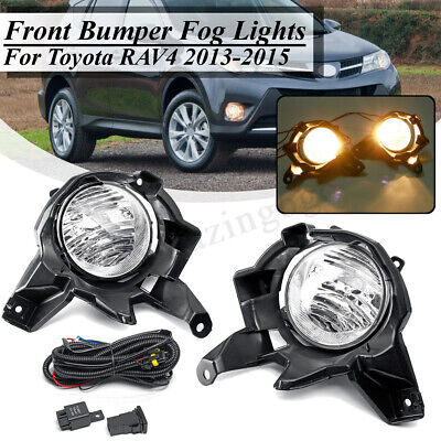 Pair Bumper Fog Light +Switch Wiring Bracket Kit For 2013 2014 2015 Toyota RAV4