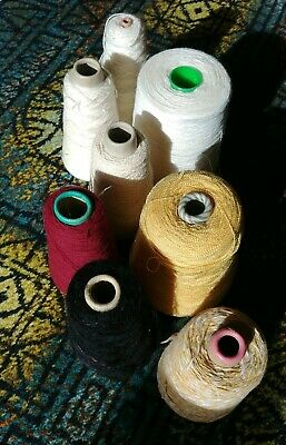 2290gr Vintage Machine Knitting Yarn Cones Job lot/Bundle Yellow Cream Red Black