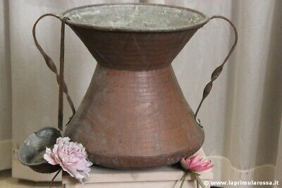 CONCONE D'EPOCA IN RAME h 39 CONCA CIOCIARA ANTIQUE ITALIAN COPPER BASIN LEAVER