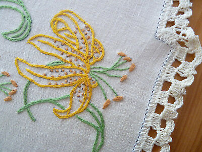 YELLOW TIGER LILIES Vintage Heavily Hand Embroidered Duchess Set 3pcs