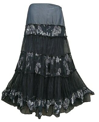 PER UNA Vintage Boho Strega Long Black & Grey Net Tiered Gypsy Skirt UK 10 L