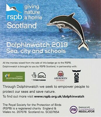 RSPB Pin Badge | Dolphin (silver) | Dolphinwatch 2019 [01420]