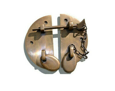 """smal heavy door  box Latch catch brass furniture antiques bolt chain ald style3"""""""