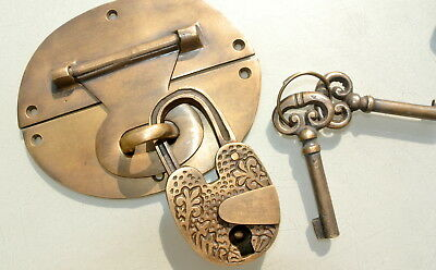"heavy HASP & STAPLE heart oval engraved Padlock and KEYs inc 5"" OVAL catch latch"