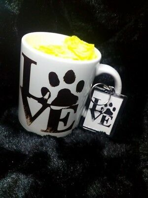 Love Paw Print Cup and Keyring pets cats dogs present Coffee Mug personalised